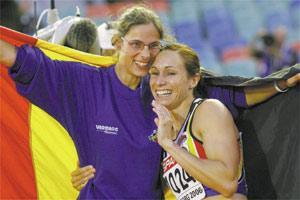 Belgium`s high jump winner Tia Hellebaut (left) and compatriot Kim Gevaert, who won the 200m race.