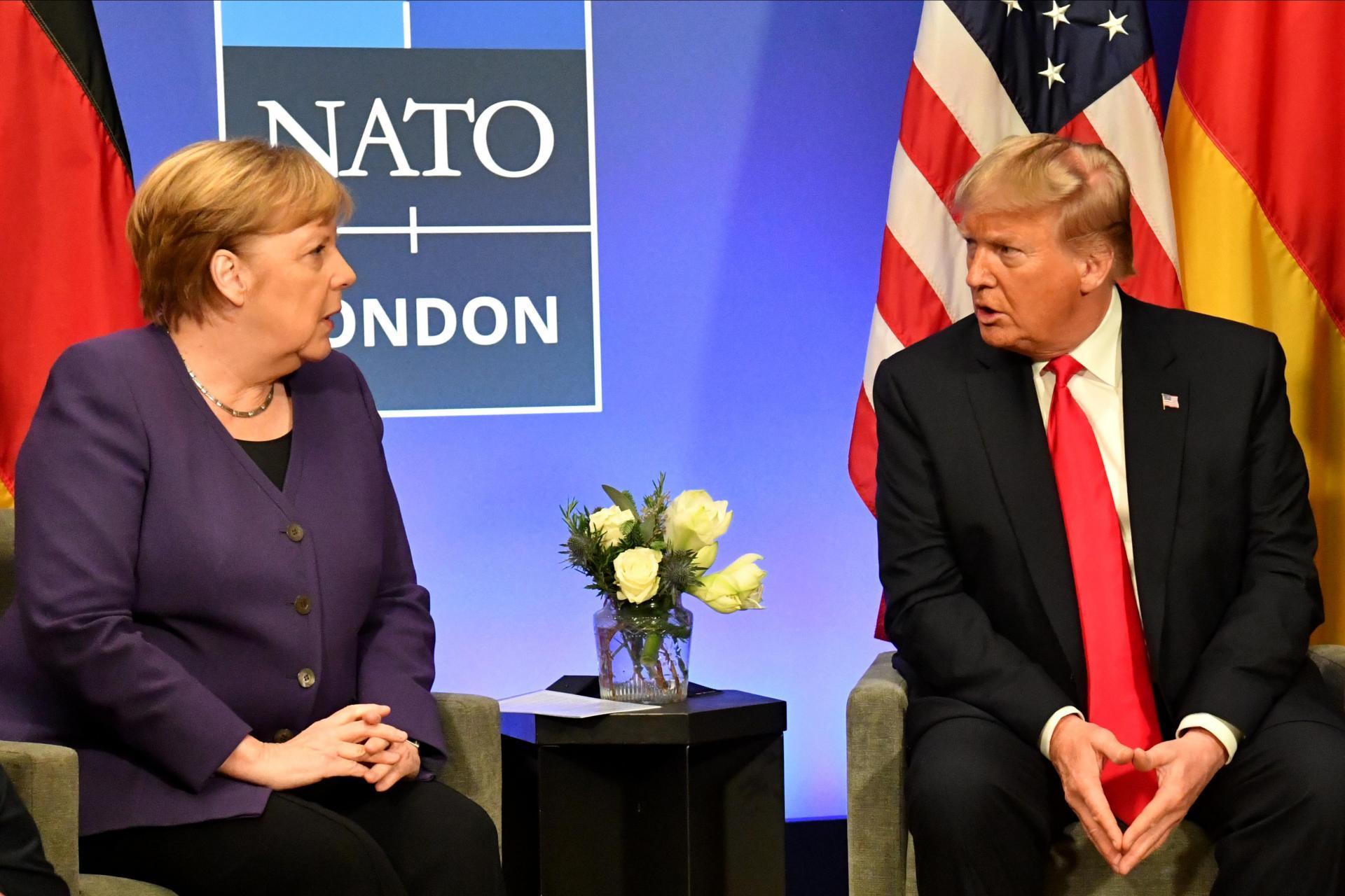Angela Merkel and Donald Trump at a NATO Summit in 2019. Photo: AFP