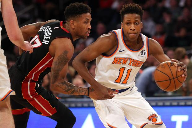 New York Knicks point guard Frank Ntilikina (11) moves the ball against Miami Heat shooting guard Rodney McGruder (17) during the fourth quarter at Madison Square Garden. Photo Credit: Brad Penner-USA TODAY Sports