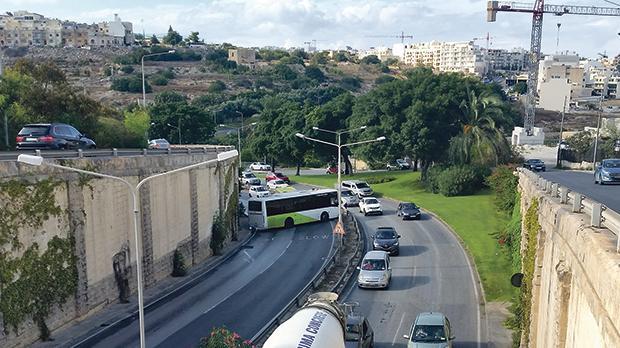 A bus blocking the Regional Road. Photo: Silvio Mifsud