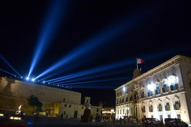 The light show of the opening ceremony of the Valletta Migration Summit is tested in Castille Square on November 9.Photo: Matthew Mirabelli