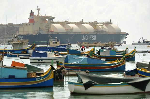 The LNG gas tanker in Marsaxlokk. Photo: Chris Sant Fournier