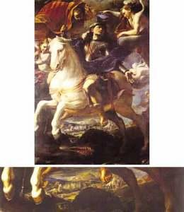 Top: The titular piece of the chapel of Aragon. Bottom: A detail of the painting showing the topography with two small hills and a bigger one in the background.