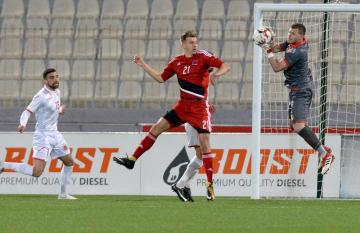 Andrew Hogg (left) optimistic in Malta's chances against Finland on Tuesday. Photo: Matthew Mirabelli