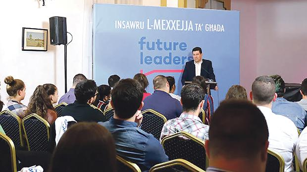 Nationalist Party Clyde Puli addressing participants of the first Future Leaders programme last November. The programme has been a bone of contention with the party's youth section. Photo: Nationalist Party
