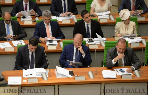 Members of parliament follow President Marie Louise Coleiro Preca's speech at the opening of Malta's 13th Parliament on June 24. Photo: Matthew Mirabelli