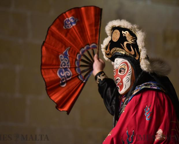 A man in mask from China's Zhejiang Wu Opera Troupe performs on stage during the Chinese new year celebrations held in Valletta on February 14. Photo: Mark Zammit Cordina