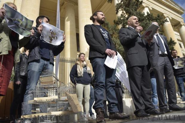 Birdlife activists address the media outside the Law Courts in Valletta regarding a ban on finch trapping on February 14. Photo: Mark Zammit Cordina