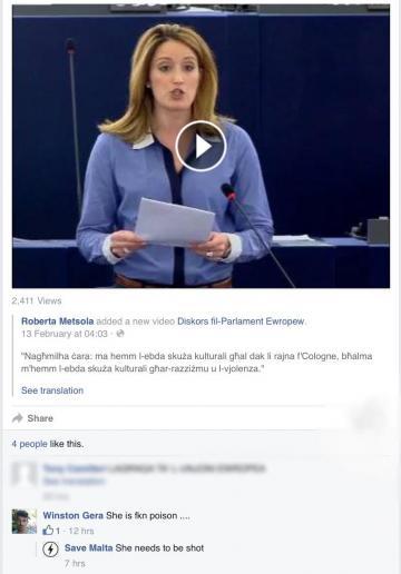 The Facebook threats against Roberta Metsola.