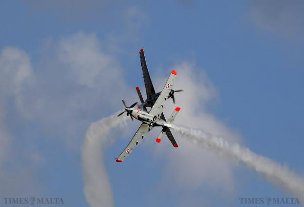 The Polish Air Force Orlik Aerobatic Team, flying PZL-130 Orlik aircraft, take part in a display during the Malta International Airshow on September 27. Photo: Darrin Zammit Lupi