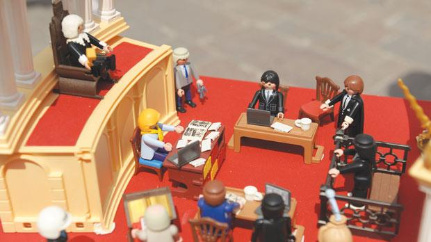Vicky Vassallo, who is being accused of copyright fraud, created this court scene from Playmobil figures as evidence in her defence. Photo: Matthew Mirabelli