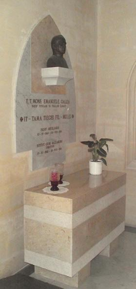 The sarcophagus which today holds the remains of Mgr Galea.