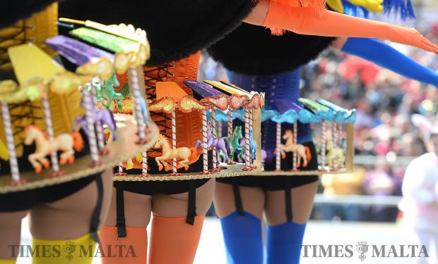 Carnival dancers prepare to go on stage in St George's Square, Valletta on February 27. Photo: Matthew Mirabelli