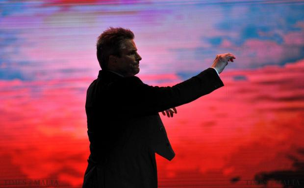 Italian/American Composer and conductor Steve Mercurio directs the Malta Philharmonic Orchestra at the Joseph Calleja Concert at the Luxol Grounds on August 3. Photo: Chris Sant Fournier