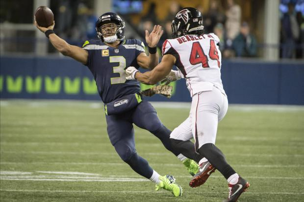 Seattle Seahawks quarterback Russell Wilson (3) throws the ball away as he is chased by Atlanta Falcons outside linebacker Vic Beasley (44) during the second half at CenturyLink Field. The Falcons won 34-31. Photo: Troy Wayrynen-USA TODAY Sports