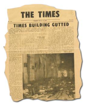 The first edition of The Times, which came out after the building was torched, is on display in the newsroom.