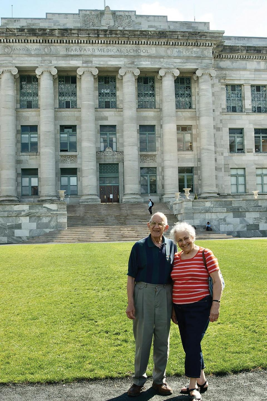 Derrick Rossi's Maltese parents Fred and Agnes Rossi visiting Harvard Medical School.