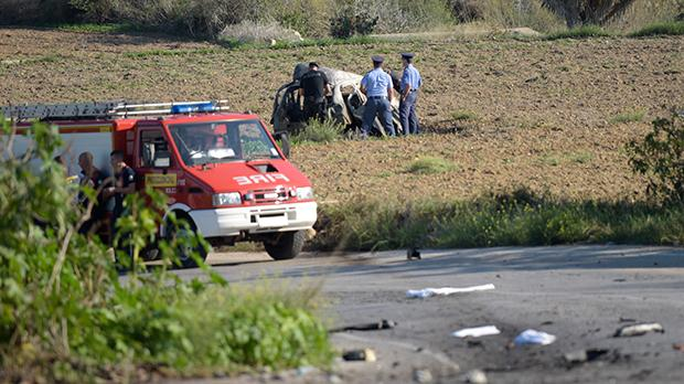 The scene of the car bombing in Bidnija, on October 16, 2017. Photo: Mark Zammit Cordina
