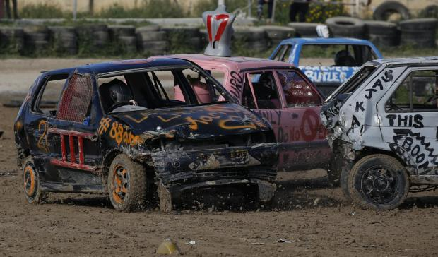 Action from Sunday's Ladies Demolition Derby. Photo: Darrin Zammit Lupi