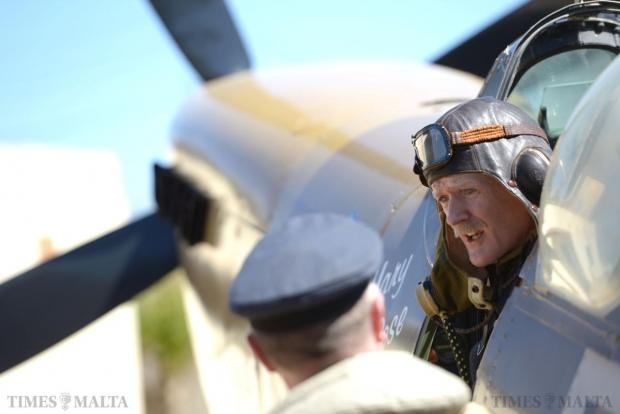 "A re-enactor sits in a Spitfire at the Malta Aviation Museum Foundation on May 10 commemorating the ""Glorious 10th of May 1942"", the day newly delivered Spitfires landed the first major blow to the Luftwaffe in the aerial battle over Malta and turned the tide of World War II in the island's favour. Photo: Matthew Mirabelli"
