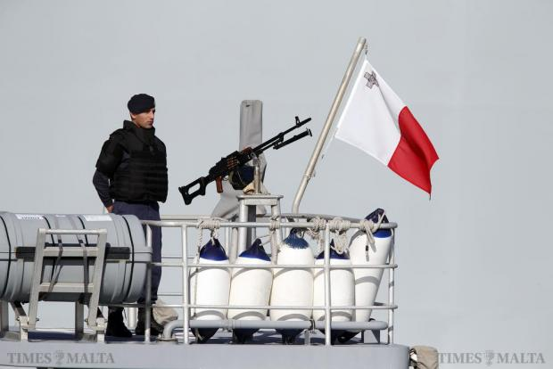 A soldier of the Armed Forces of Malta patrols on a boat in Valletta's Grand Harbour during the Commonwealth Heads of Government Meeting (CHOGM) on November 28. Photo: Darrin Zammit Lupi