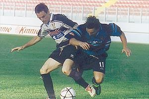 Pietà Hotspurs` Mirko Jurilj holds off Sliema striker Nenad Veselji during his side`s 2-2 draw.
