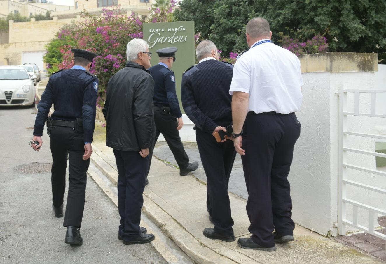 Police outside Schembri's house on Tuesday. Photo: Matthew Mirabelli