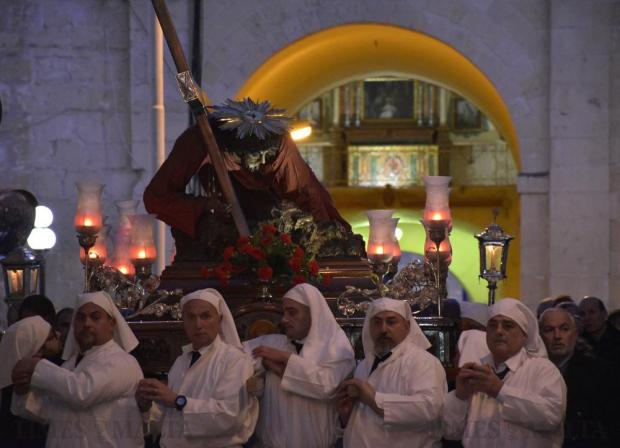 Statue bearers carry the statue of Christ the Redeemer during a penitential pilgrimage in Senglea on March 4. Photo: Mark Zammit Cordina