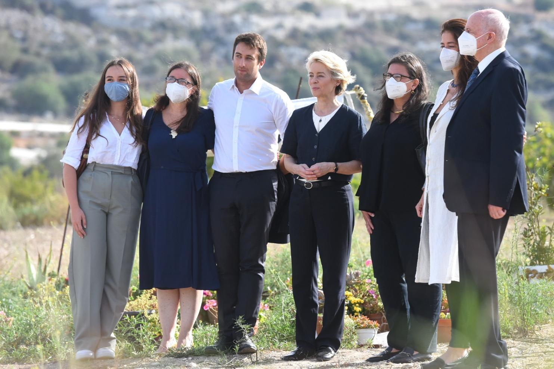 Von der Leyen with members of Daphne Caruana Galizia's family. Photo: Chris Sant Fournier.
