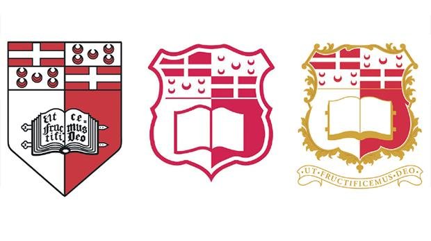 The new university logo (centre) will not include the traditional motto (left), but the wording in Latin will be kept in the ceremonial crest (right).