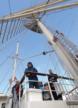 The Tenacious' Maltese crew members Alfred Xuereb (left), David Callaby, John Xuereb and Josef Farrugia. Photo: Jason Borg