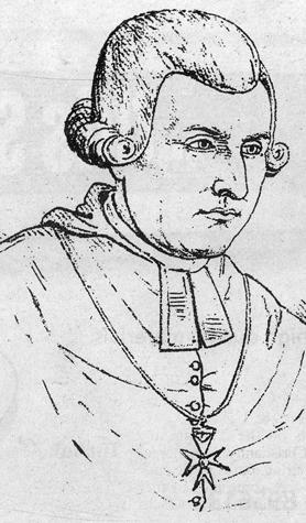 A drawing of eminent Gozitan scholar Canon G.P. De Soldanis (1712-1770), who in 1750 published a catechism book in Maltese, supported by Bishop Alpheran de Bussan.