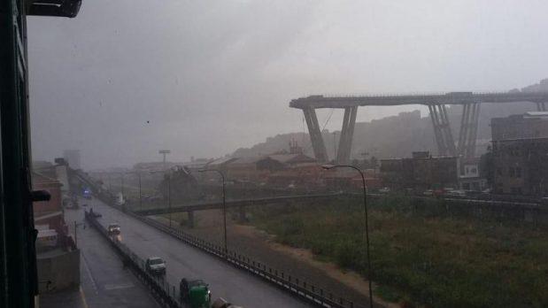 The collapsed bridge in Genoa.