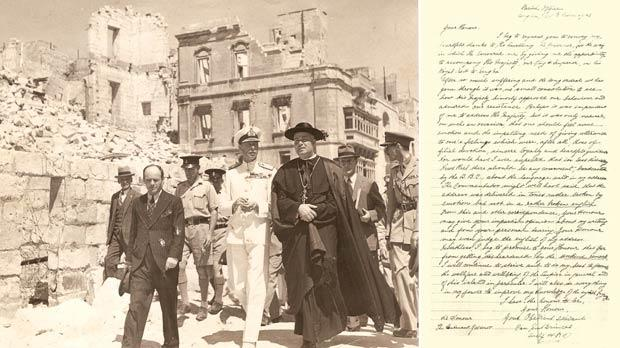 "King George VI heading back to Senglea Terrace accompanied by Canon Emmanuel Brincat and Vivian Dillon, the Regional Protection Officer of the city. Right: Canon Brincat's letter dated June 25, 1943, to Lieutenant Governor Sir David Campbell, expressing his appreciation for the honour of accompanying the King during the royal visit and expressing his disappointment at the BBC's comment about his ""broken English""."