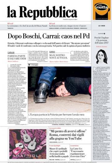 The front page of La Repubblica.