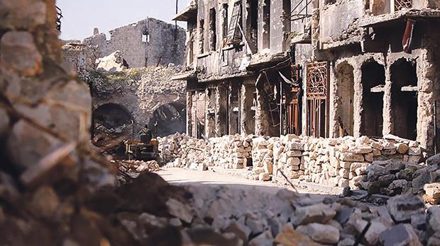 A damaged area in Aleppo. Photo: Rueters