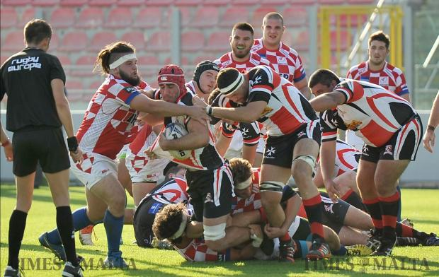 Malta and Croatia rugby teams clash in the European Conference 1 South campaign at the Hibernian's ground in Paola on November 4. Malta won the match 56-8. Photo: Chris Sant Fournier