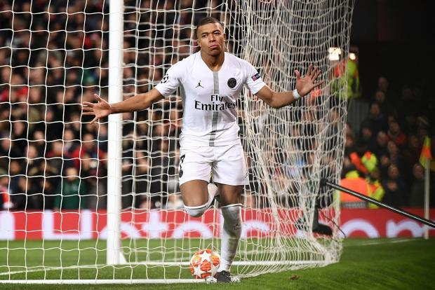 Kylian Mbappe celebrates his goal for Paris St Germain against Manchester United.