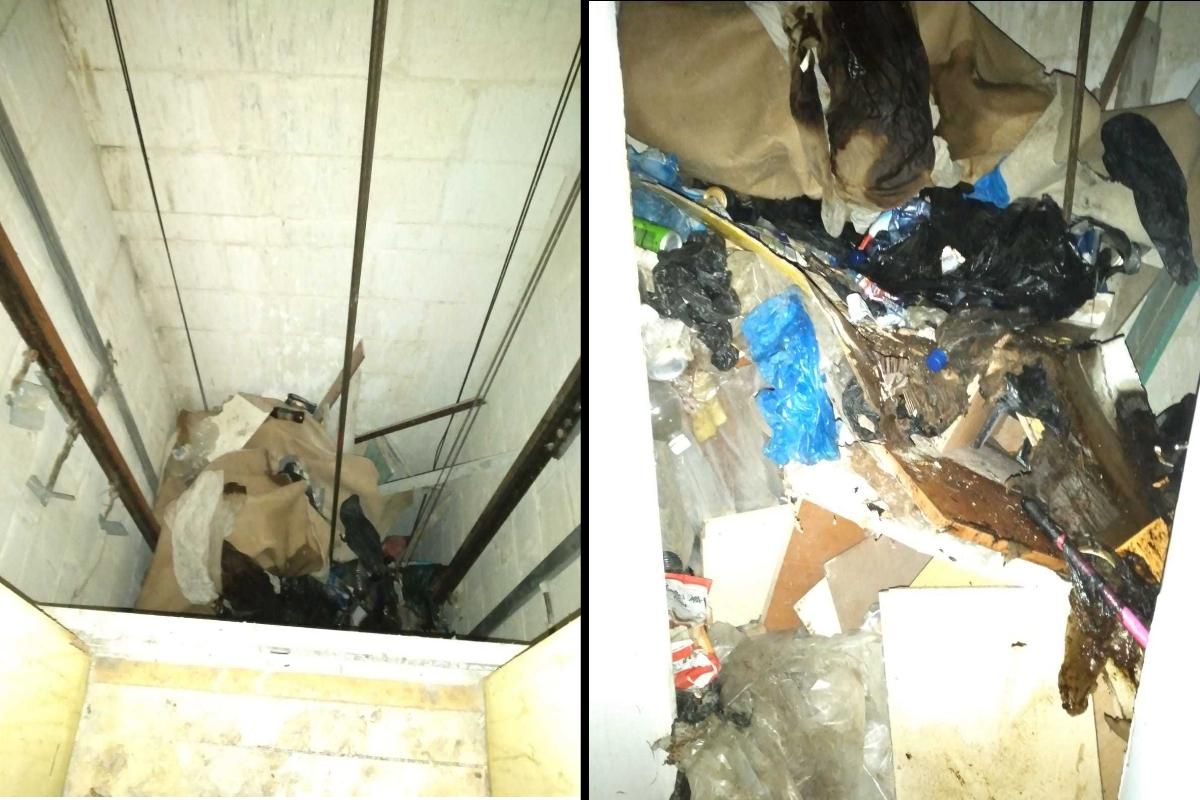 The lift shaft, left, full of garbage, right, where a man's body was left decomposing for days as neighbours were too frightened to call police. Photo: Julian Delia
