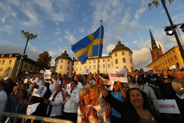 Sweden Democrats supporters at a rally. Photo: Reuters