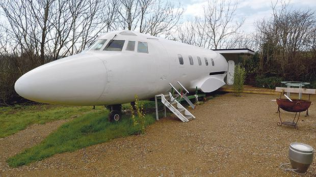 The jet is parked in Norchard Farm, Redberth, near Tenby, Pembrokeshire, Wales. It boasts an outside shared kitchen and barbecue area.