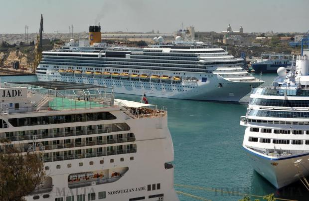 Cruise liner Costa Pacifica manoeuvres close to other cruise liners in Grand Harbour on May 5. Photo: Chris Sant Fournier