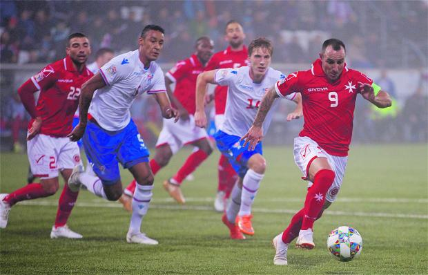 Michael Mifsud (right) has scored his 41st goal for Malta. Photo: Paul Zammit Cutajar/MFA