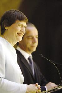 Prime Ministers Lawrence Gonzi and Helen Clark during their joint press conference yesterday.