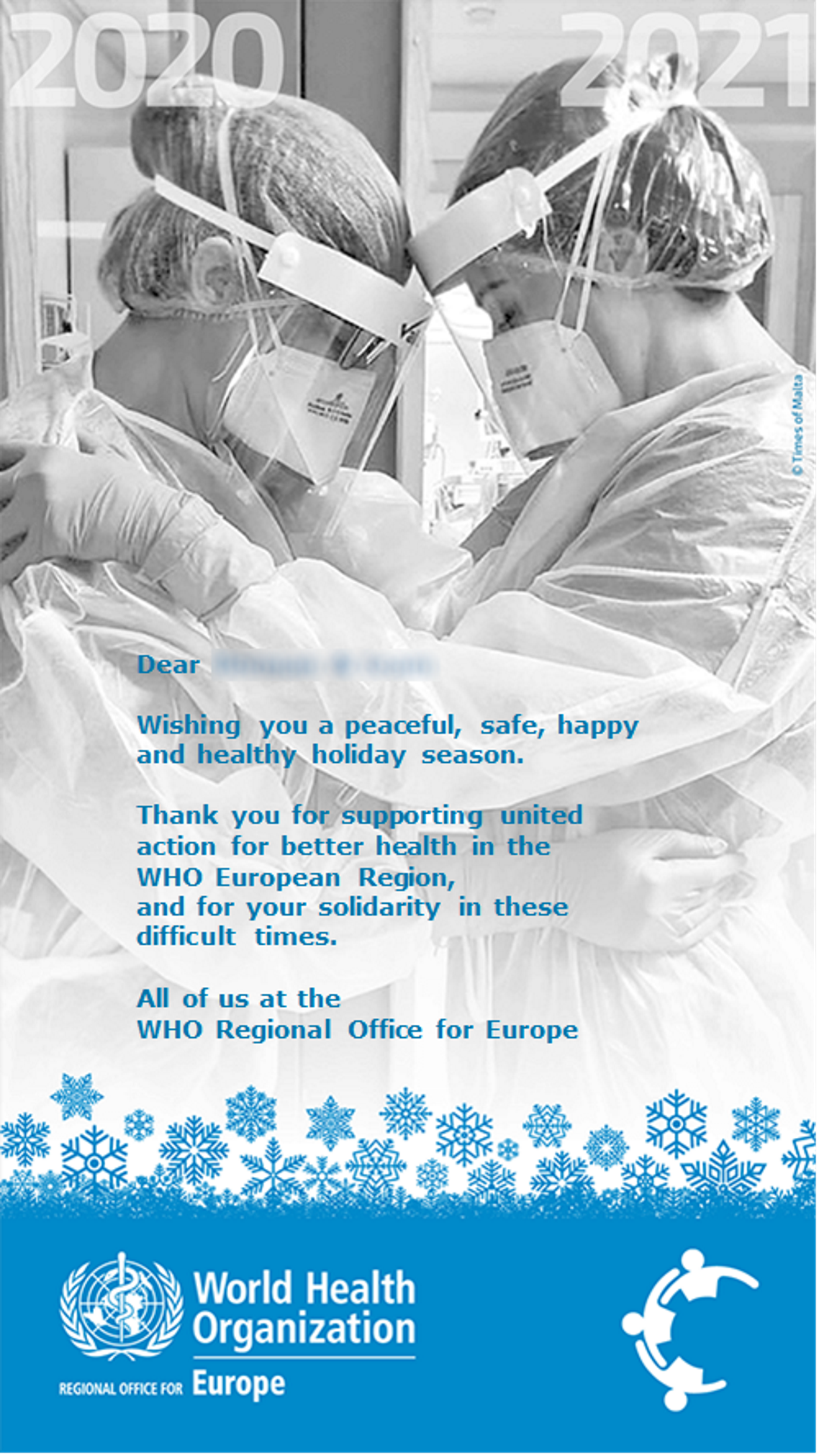 Picture of Maltese nurses embracing selected as WHO's Christmas greetings image