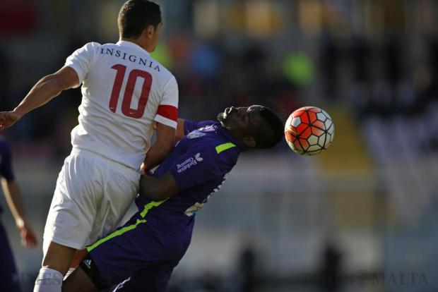 St Andrew's Salomon Wisdom (right) beats Valletta's Roderick Briffa in an aerial challenge during their Premier League football match at the National Stadium in Ta' Qali on February 21. Photo: Darrin Zammit Lupi