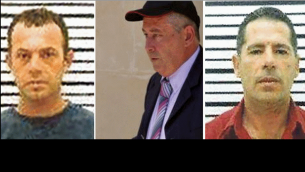 Il-Fulu, left, together with the other accused - Vince Muscat and George Degiorgio.
