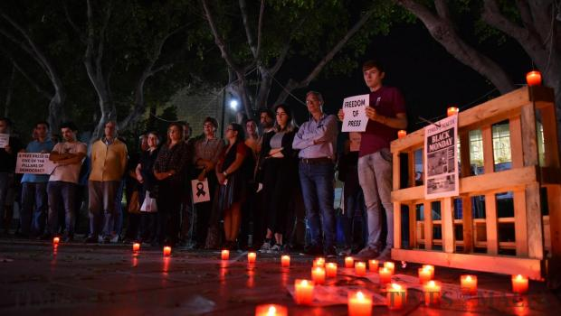 University Students organize a silent candlelight vigil at the University Campus in Tal-Qroqq on October 18, in memory of journalist Daphne Caruana Galizia who was murdered brutally by a car bomb that week. Photo: Mark Zammit Cordina