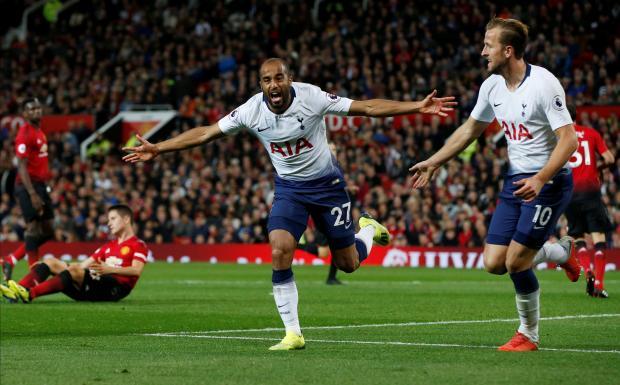 Tottenham's Lucas Moura celebrates scoring their second goal.