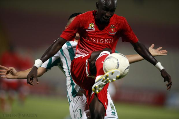 Valletta's forward Aziz Corr Nyang controls the ball during their 3-0 derby victory over long-time rivals Floriana at the National Stadium on August 31.